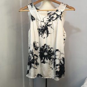 Ann Taylor Silk Ivory/ Black Floral Top Size 4